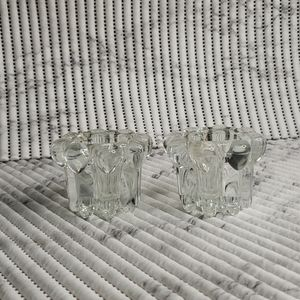 Two Piece Crystal Candle Holder Set
